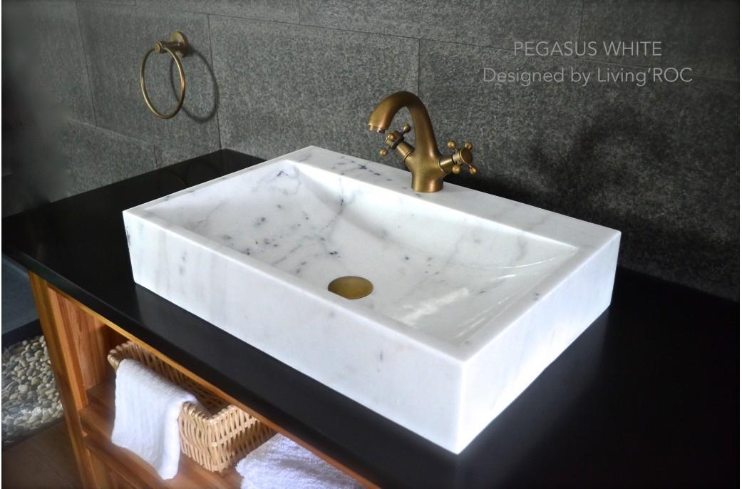 vasque 60x40 marbre blanc trou de robinet pegasus white. Black Bedroom Furniture Sets. Home Design Ideas