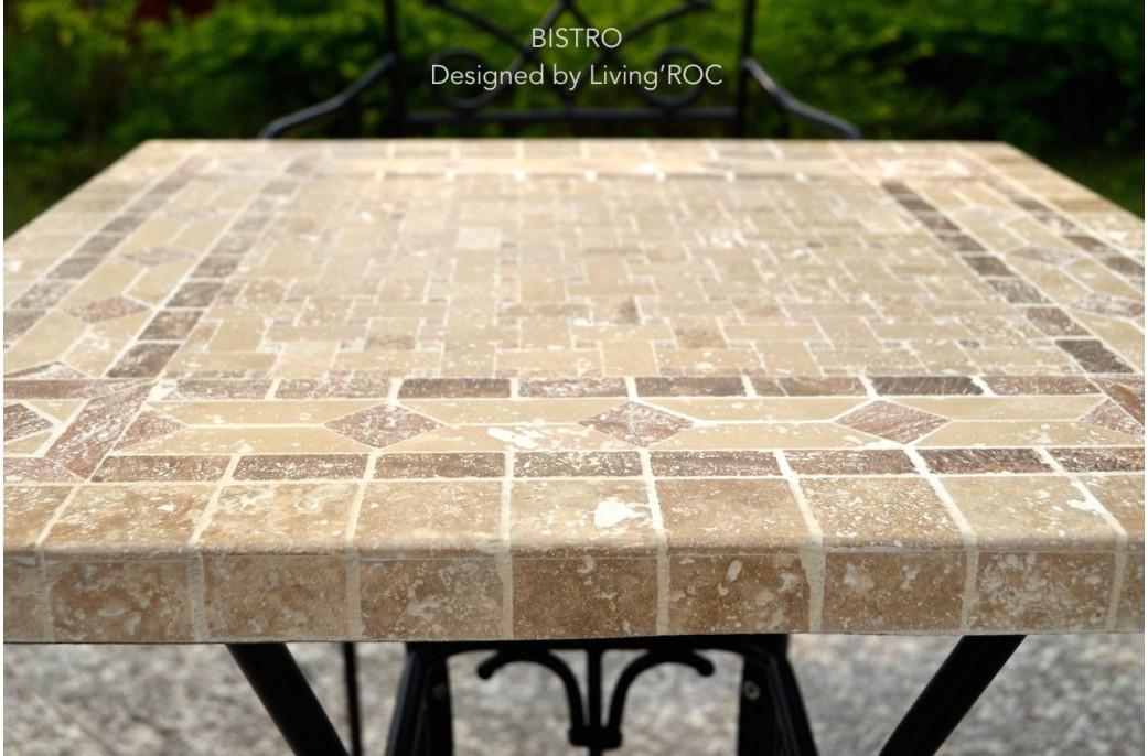 Table Mosaïque de Bistro Carrée 60 et 70cm et fer forgé marbre italien et persan - BISTRO
