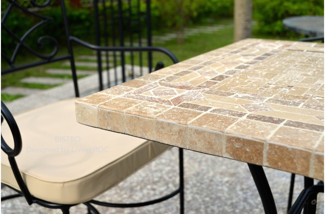 Table fer forge mosaique - Table de jardin ceramique et fer forge ...