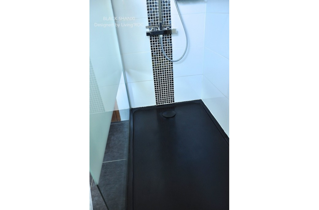 receveur de douche en pierre mercurion shadow granit noir luxe 100x80. Black Bedroom Furniture Sets. Home Design Ideas
