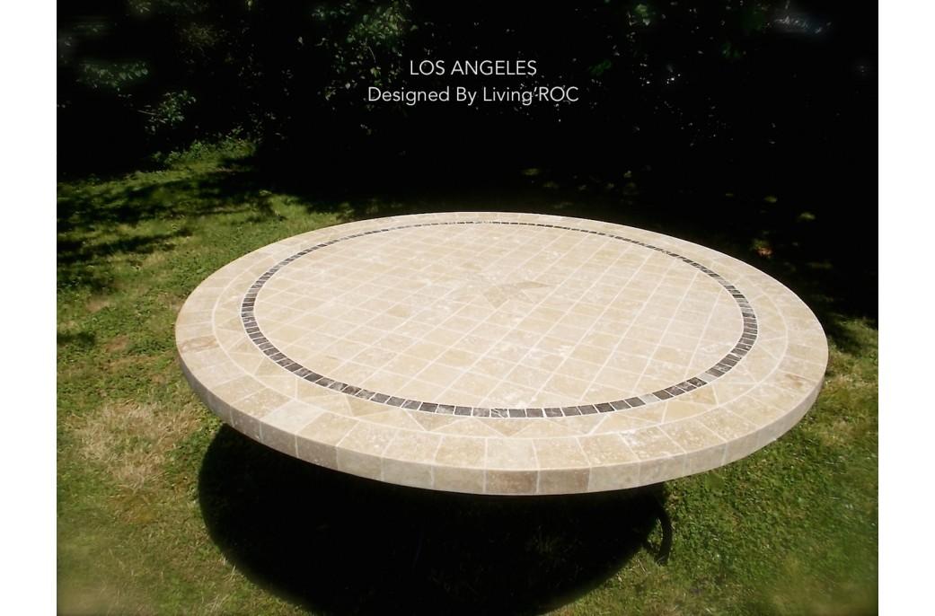 Grande table ronde en mosa que mexixo de marbre pour ext rieur int rieur living 39 roc for Table en pierre exterieur