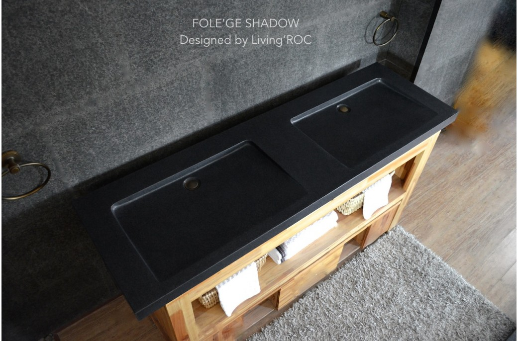 double vasque en pierre fole 39 ge shadow granit noir v ritable 160x50. Black Bedroom Furniture Sets. Home Design Ideas