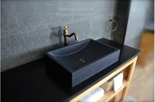 Vasque en pierre 60x40 granit noir luxe TORRENCE SHADOW