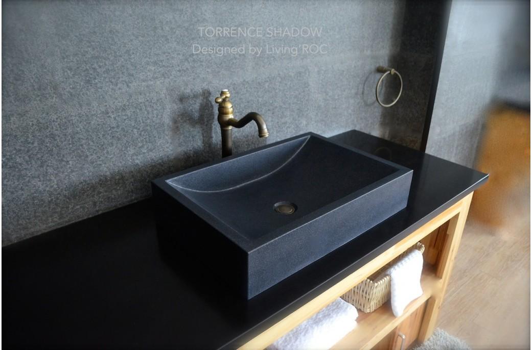 Torrence Shadow Vasque En Pierre Naturelle Granit Noir