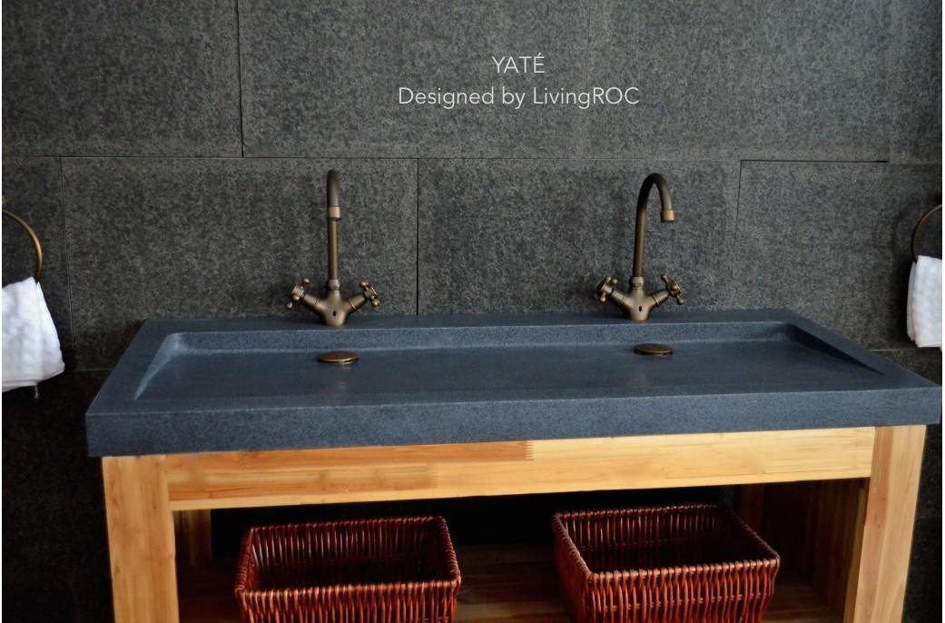 Granite rock stone sink bowls single faucet hole cut out