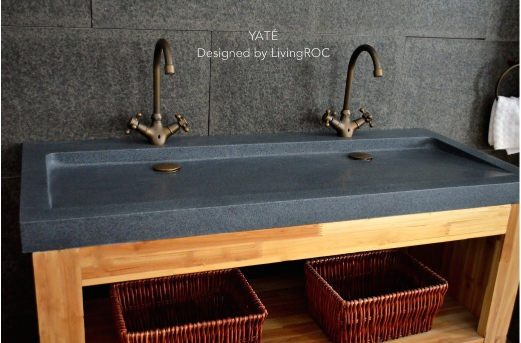 140x50 Cm Double Vasques En Granit Gris Haut De Gamme Love