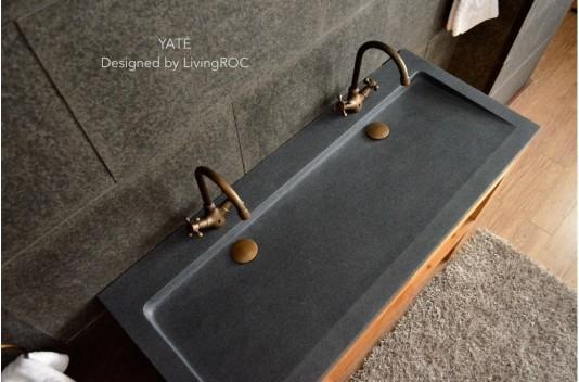 Double vasque en pierre 140x50 Granit Gris tendance - LOVE