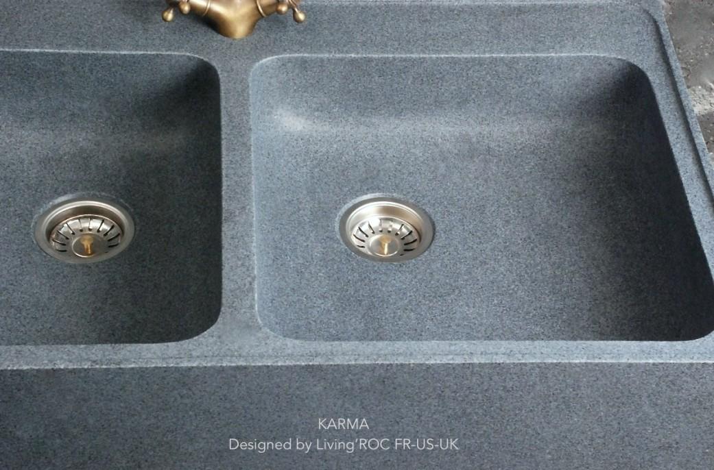 90x60 vier de cuisine en pierre granit v ritable karma - Evier de cuisine en granite ...