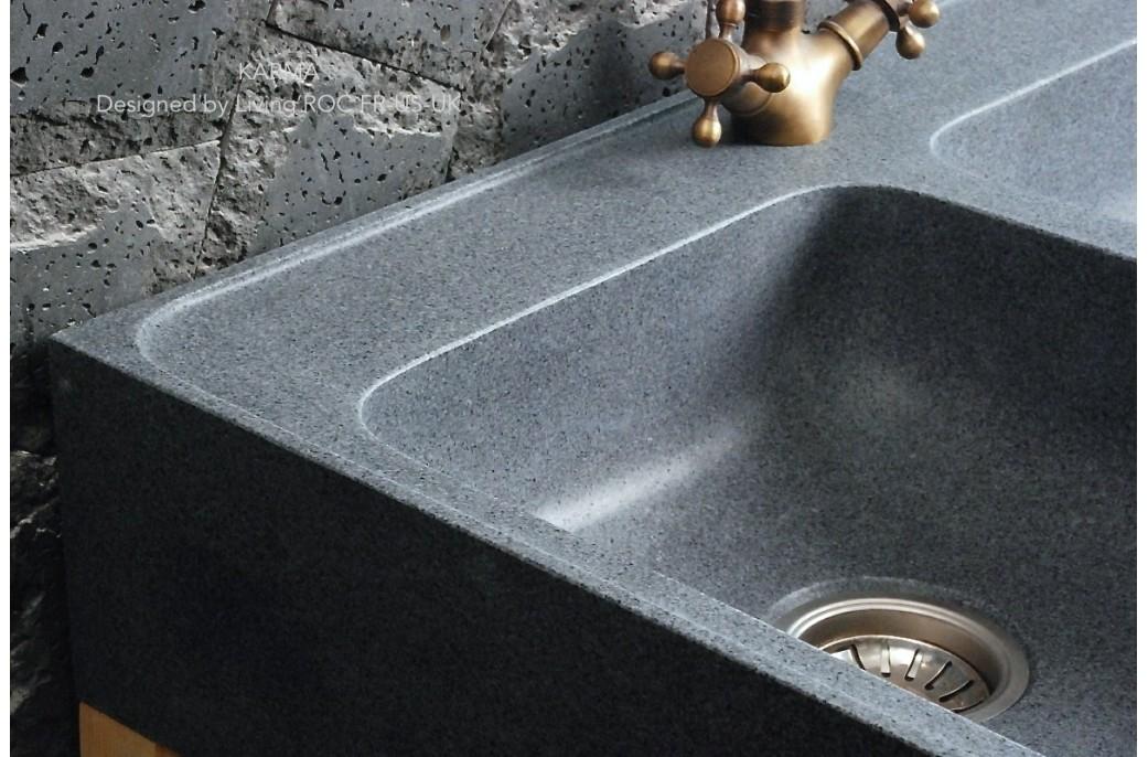 Evier 2 bacs en marbre travertin marque contenance mat - Evier de cuisine en granite ...