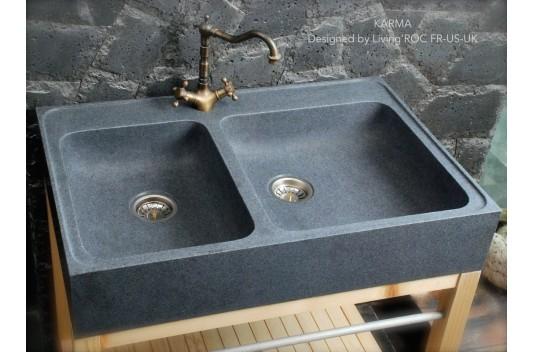 90x60 Évier de cuisine en pierre granit véritable - KARMA