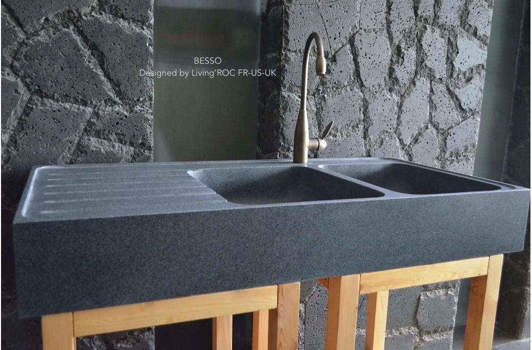 Amazing xcm vier en pierre granit pour cuisine cuves for Evier cuisine ancien