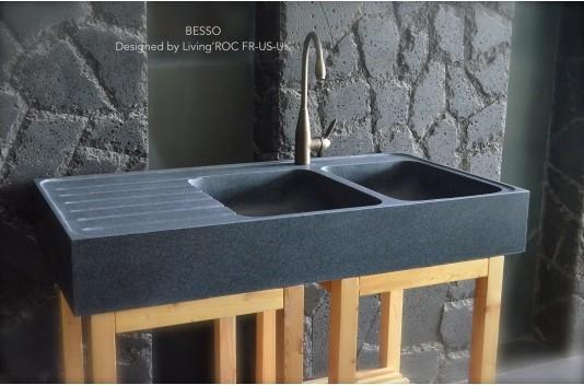 Évier Cuisine pierre Granit 2 cuves égouttoir 120x60 - BESSO