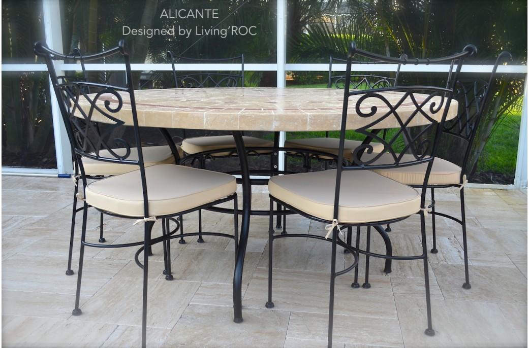 Table de jardin en mosaique marbre travertin alicante 4 for Table de cuisine en fer forge