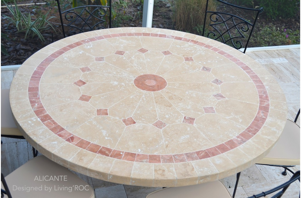 Table de jardin en mosaique marbre travertin alicante 4 - Table de jardin plateau en marbre ...