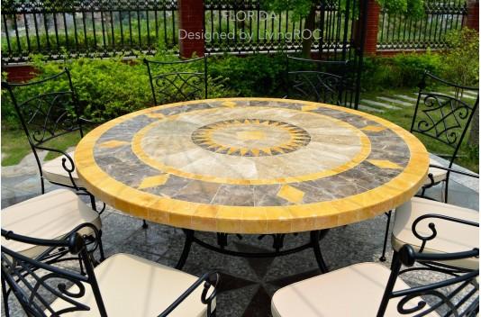 table ronde mosa 125 en mosa que de marbre pour ext rieur. Black Bedroom Furniture Sets. Home Design Ideas