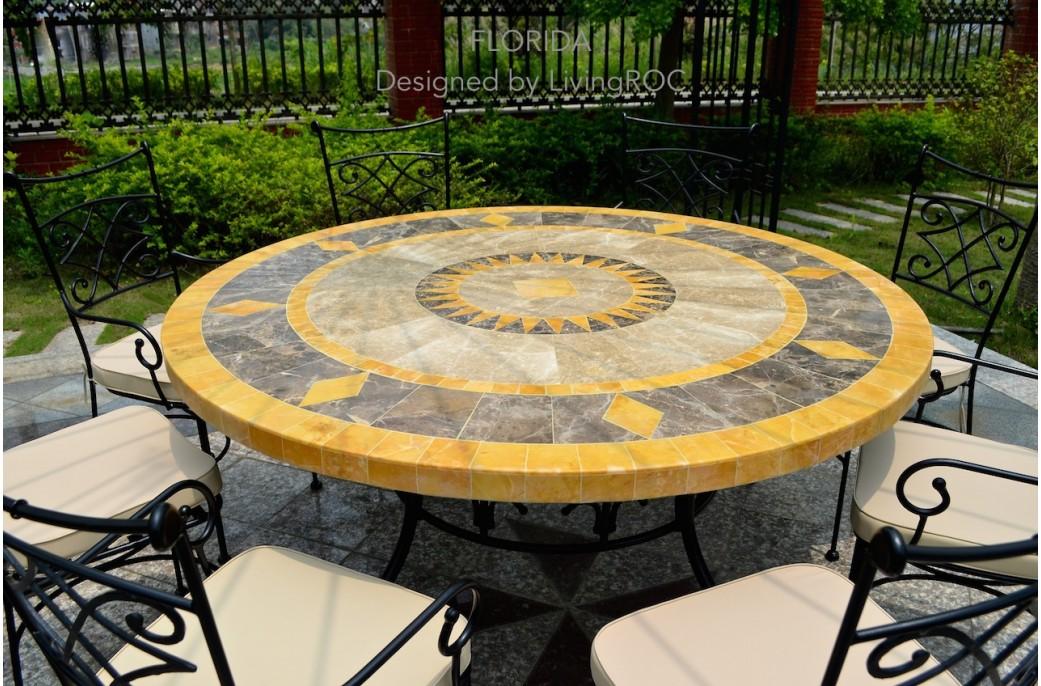 table ronde mosa 125 en mosa que de marbre pour ext rieur et int rieur floride. Black Bedroom Furniture Sets. Home Design Ideas