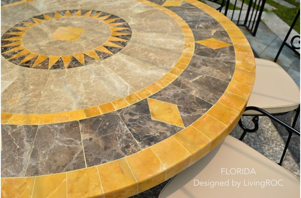 Table ronde mosa 125 en mosa que de marbre pour ext rieur et int rieur floride - Modele mosaique pour plateau ...