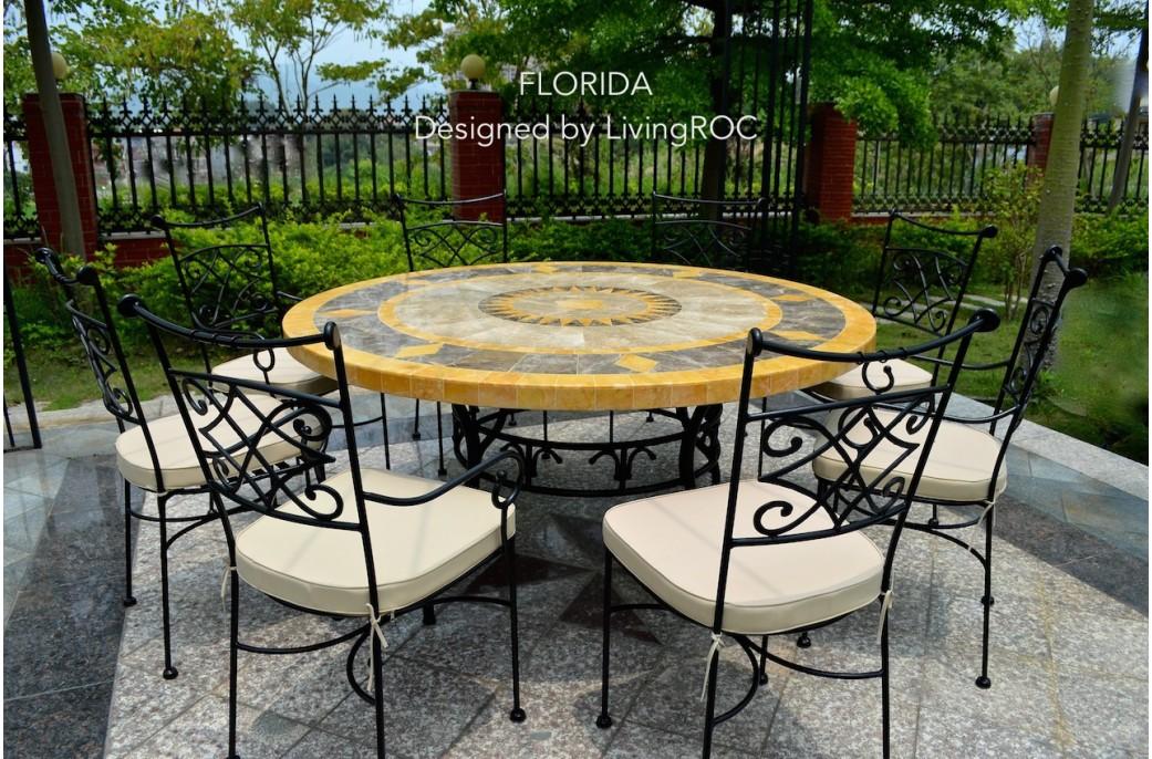 Table ronde mosa 125 en mosa que de marbre pour ext rieur - Table de jardin plateau en marbre ...