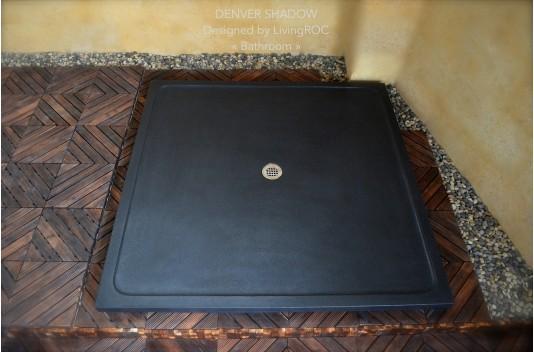 Receveur de Douche pierre 107x107 Granit noir CHICAGO SHADOW