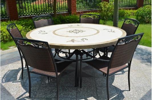 Grande Table de jardin 160 en pierre marbre ronde LUXOR