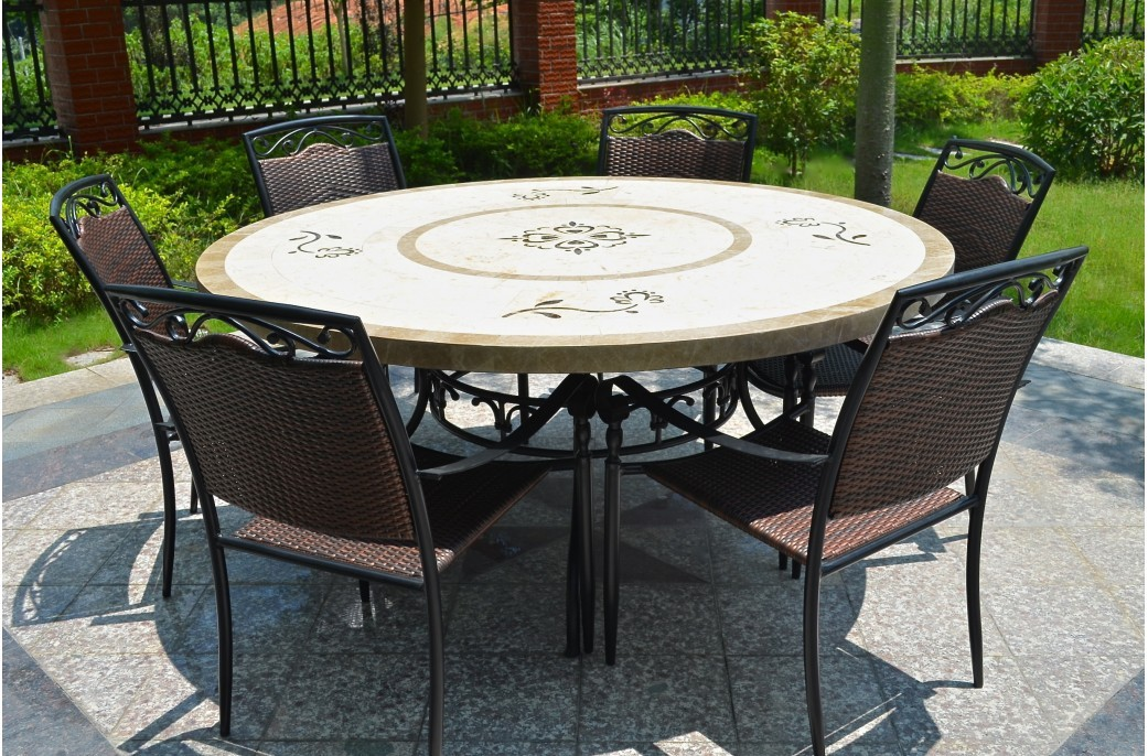Grande table 170 160 en pierre mosa marbre ronde luxor for Table jardin en pierre