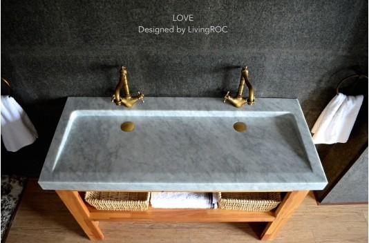 Double vasque en Marbre de Carrara 120x50  YATE WHITE