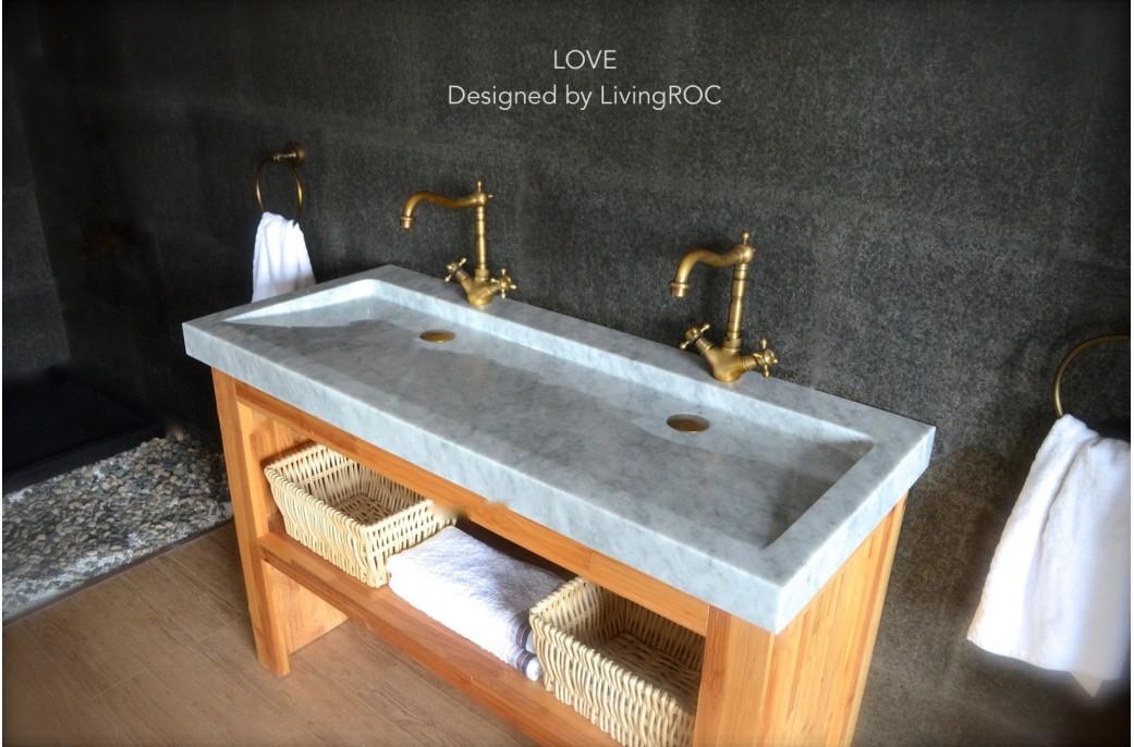 Double vasque en marbre de carrara 120x50 yate white for Evier cuisine 120x50