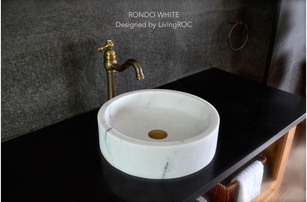 400mm Vasque ronde en Marbre Blanc RONDO WHITE