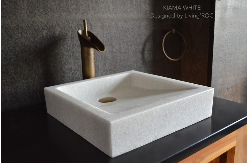 vasque pierre blanche marbre cristal 40x40 kiama white. Black Bedroom Furniture Sets. Home Design Ideas