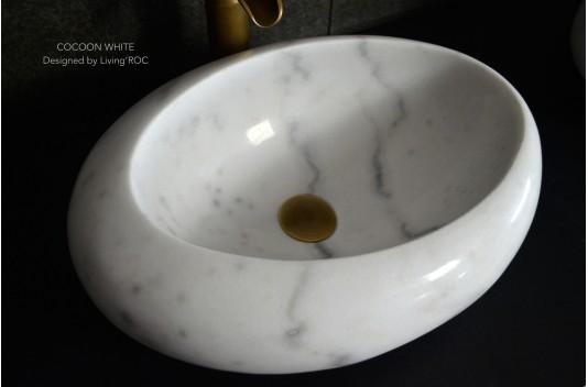 Vasque salle de bain pierre marbre Blanc COCOON WHITE