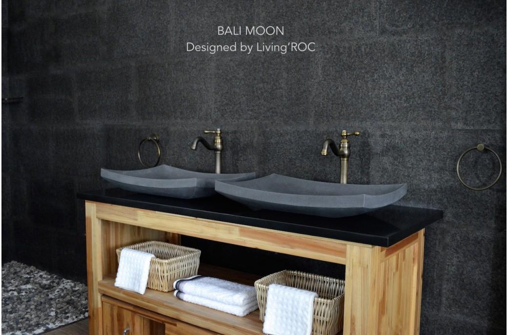 60x40 vasque poser en pierre de basalt grise bali moon - Vasque a poser grise ...