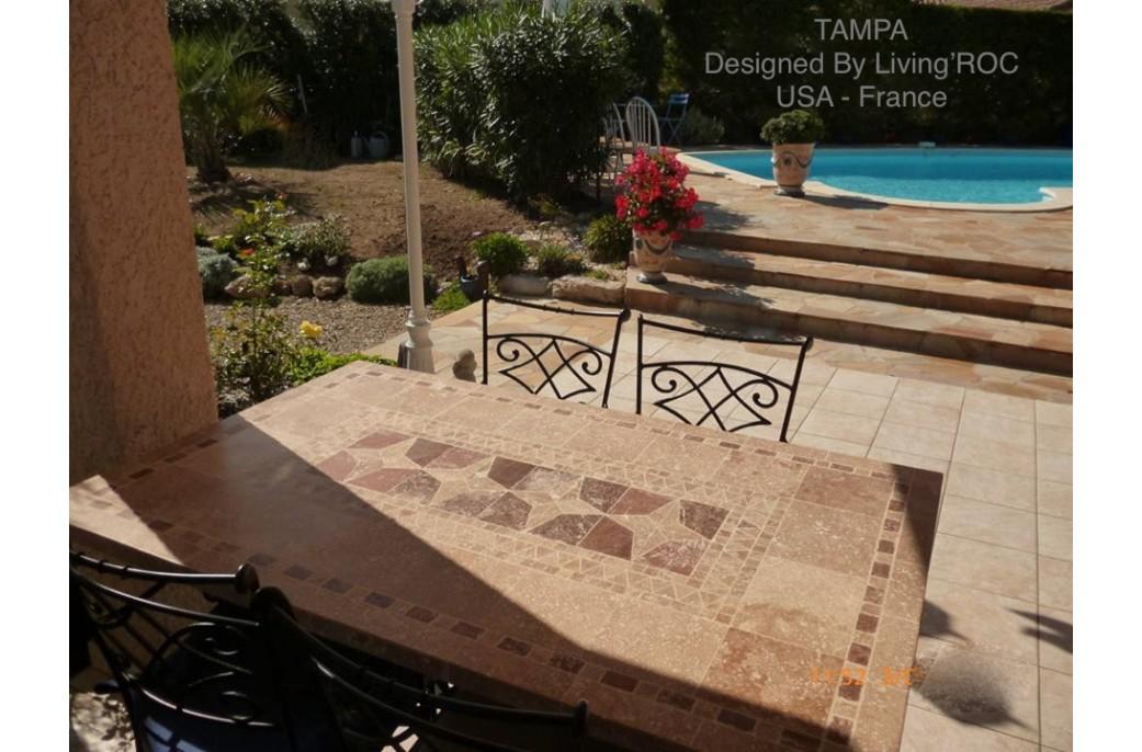 Table de jardin mosa que en pierre naturelle tampa 160 et - Table de jardin plateau en marbre ...
