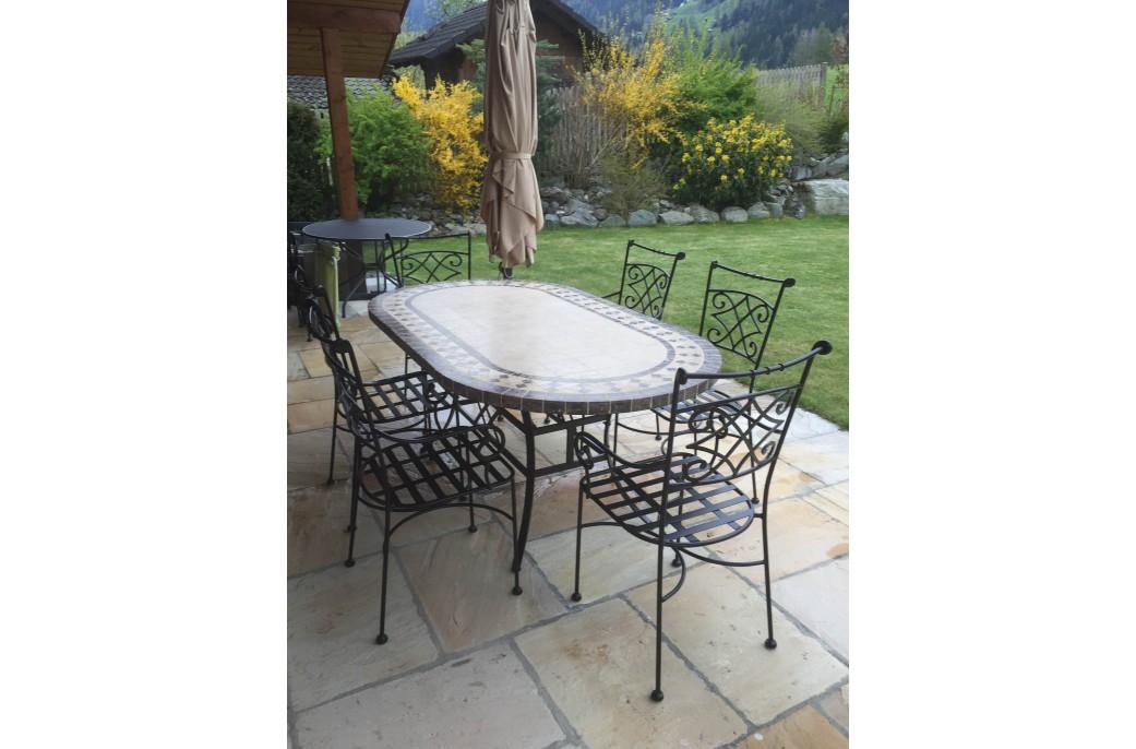 Table de jardin mosaique ovale des id es for Petite table de jardin mosaique