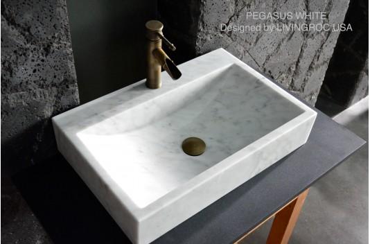 Vasque marbre Blanc 60x40 + trou de robinet - PEGASUS WHITE