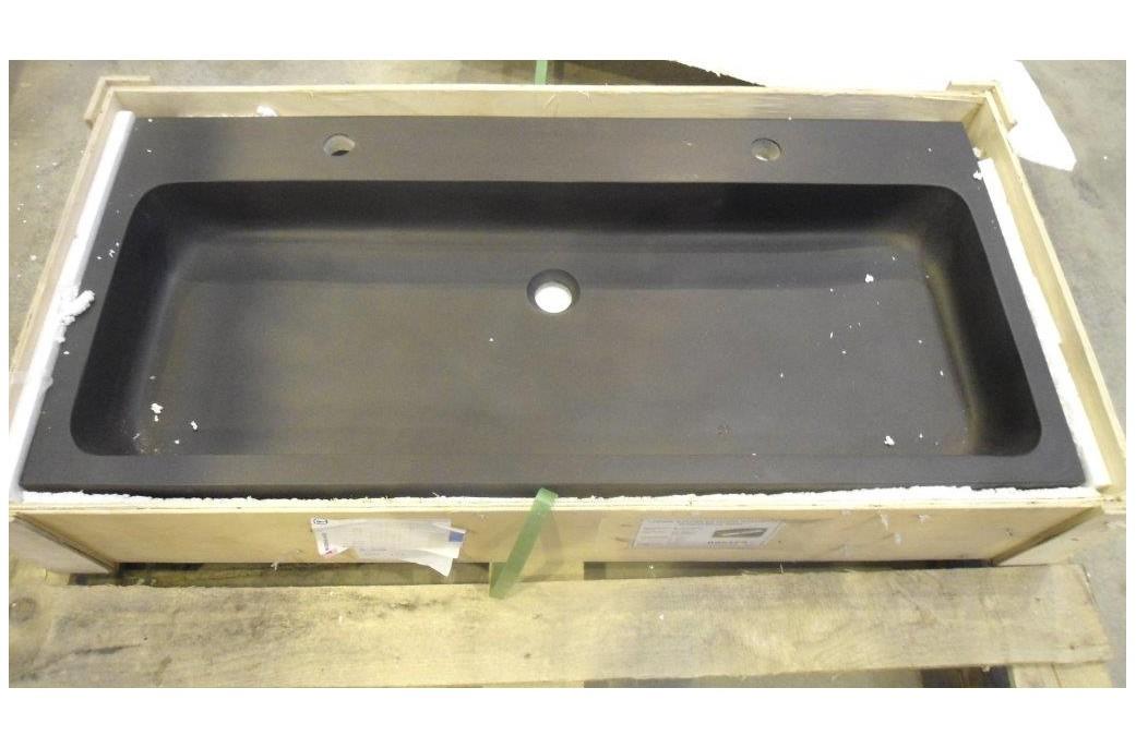 PROMO Double vasque 100x46 en pierre de basalte noir  LOOAN DARK