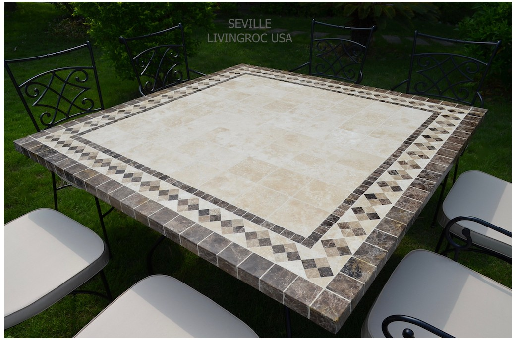beautiful table de jardin mosaique marbre ideas