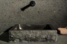 Vasque en pierre noire granit ou basalt véritable 40-60cm BORNEO