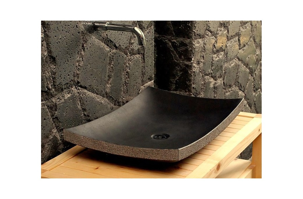 vasque salle de bain en pierre 60x40 basalte noire lotus. Black Bedroom Furniture Sets. Home Design Ideas