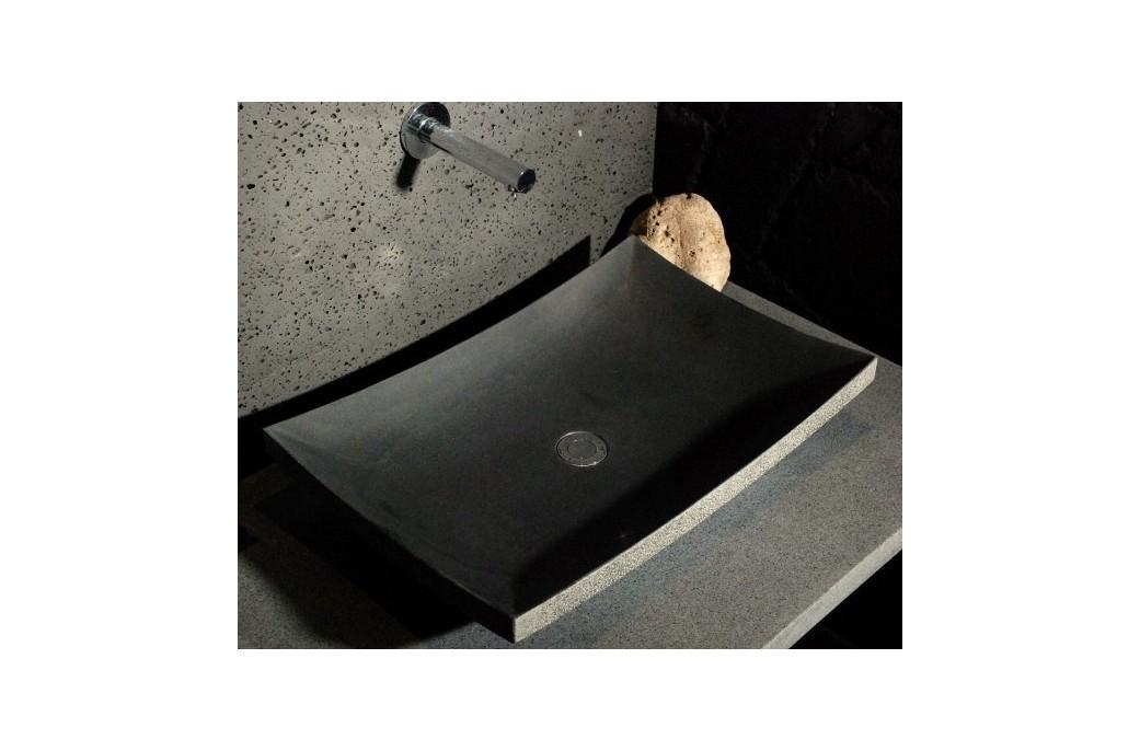 Vasque Salle de Bain en Pierre 60x40 Basalte Noir LOTUS