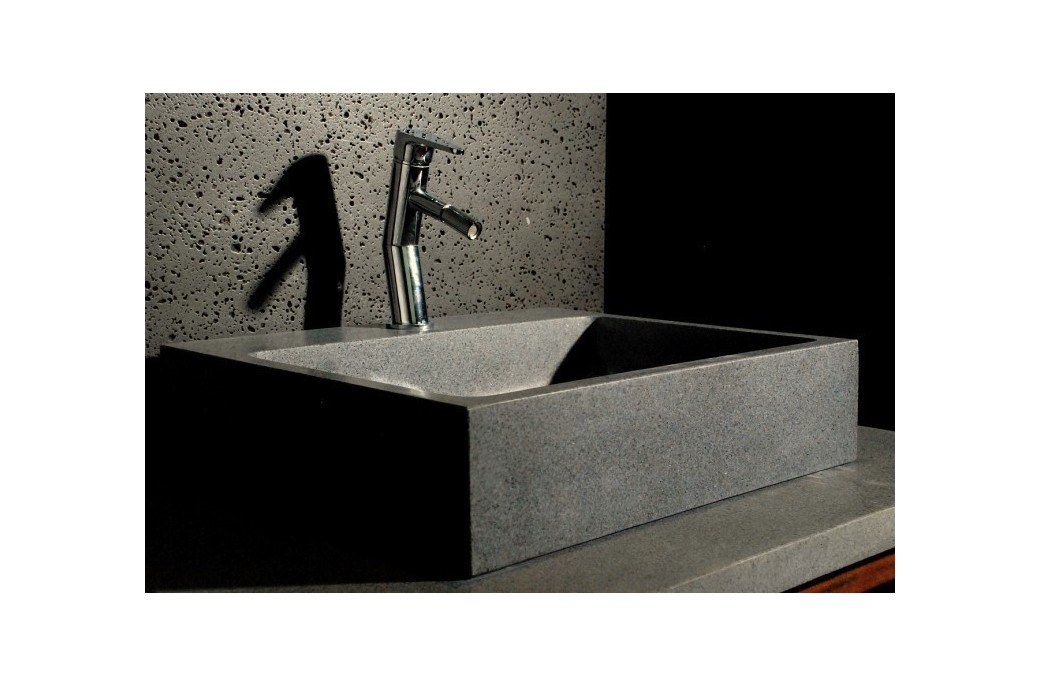 lavabo en pierre grise 55x46 alpha trou robinetterie int gr living 39 roc. Black Bedroom Furniture Sets. Home Design Ideas