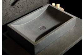 Vasque salle de bain pierre 60x40 granit véritable gris TORRENCE