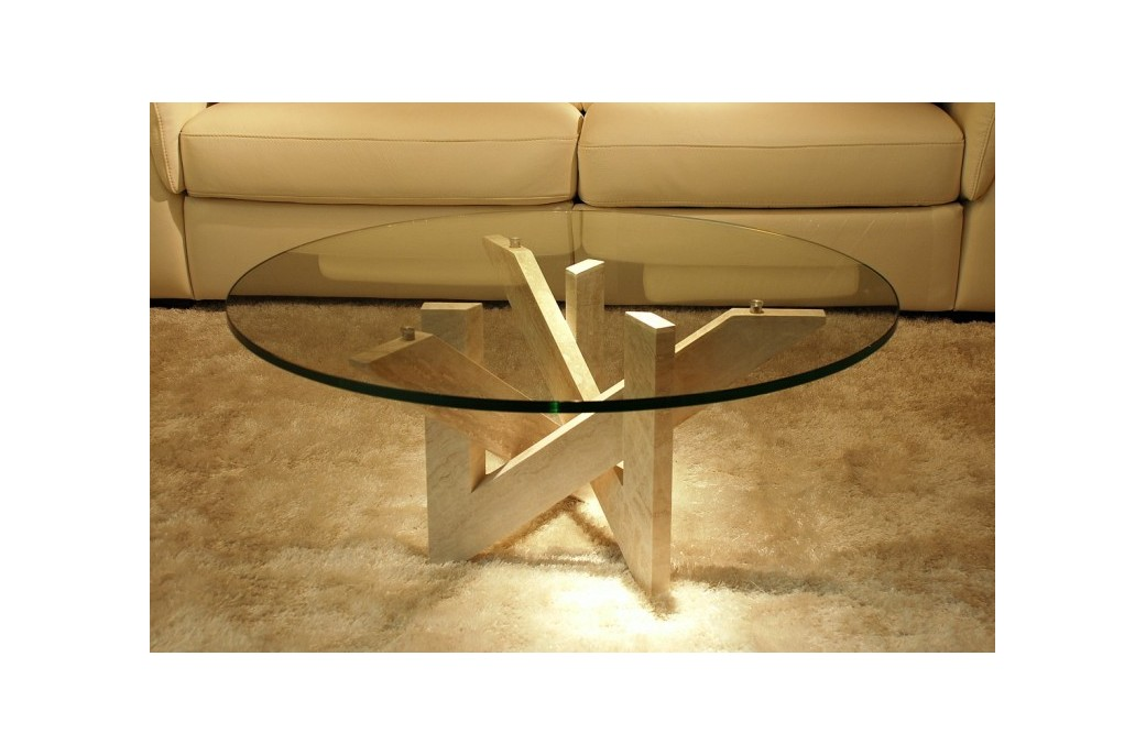TABLE BASSE EN MARBRE Arabesque ronde, table basse en marbre et ...