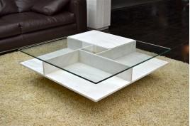 Table basse pierre et verre haut de gamme (marbre Persan) - LANCASTER