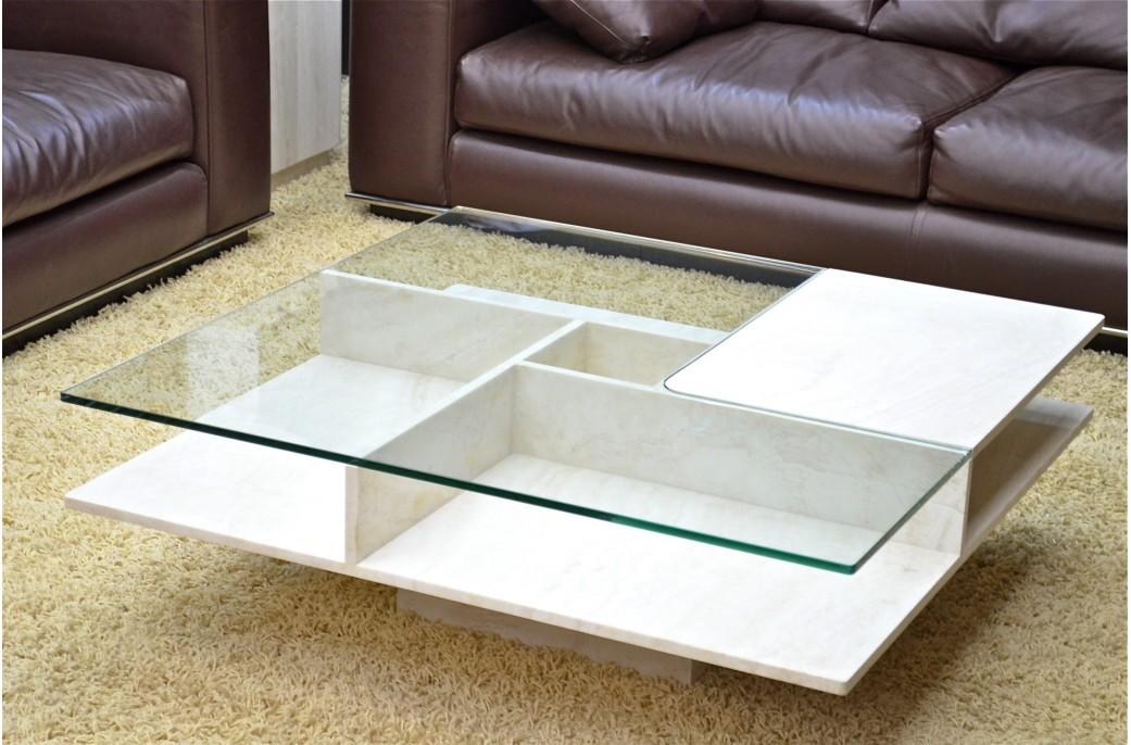 table basse pierre et verre en marbre haut de gamme lancaster living 39 roc. Black Bedroom Furniture Sets. Home Design Ideas