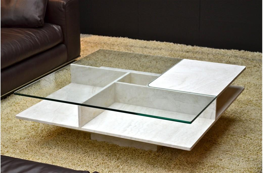 Table basse pierre et verre en marbre haut de gamme for Table basse pierre