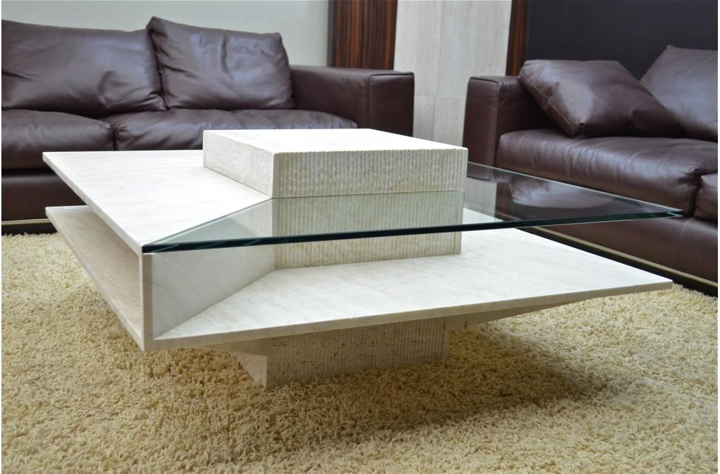 table basse en marbre louvre et verre tremp pour environnement haut de gamme living 39 roc. Black Bedroom Furniture Sets. Home Design Ideas