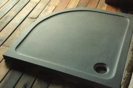 Receveur de douche d'angle 1/4 de rond 90x90cm granit véritable LAGOON