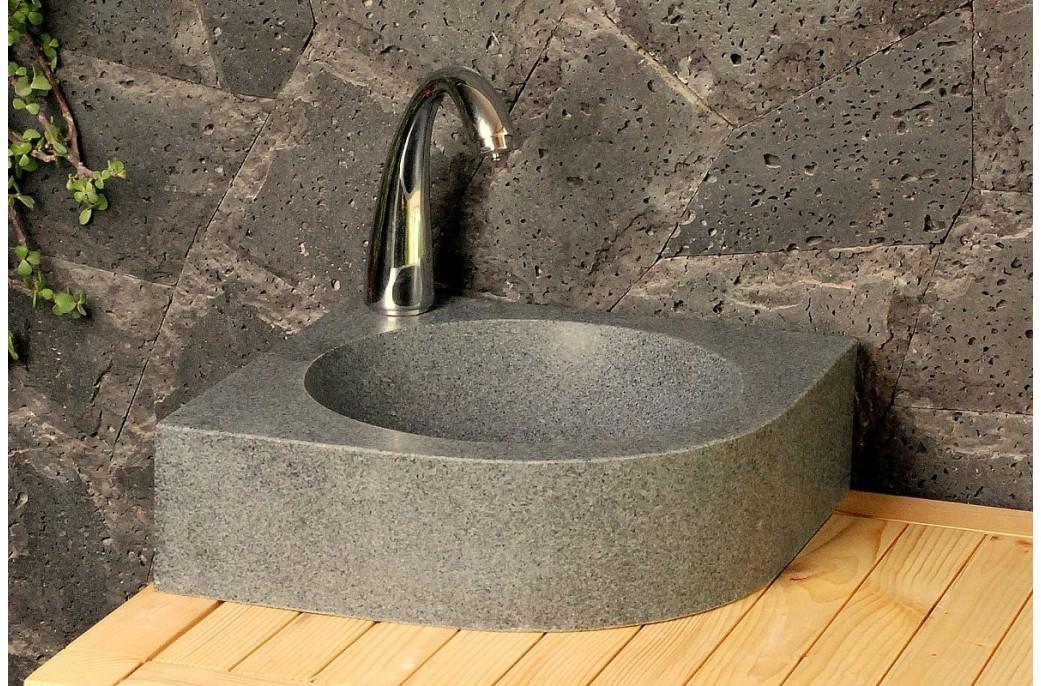 Lave Mains En Pierre D Angle Samoa 34x34cm Granit Véritable