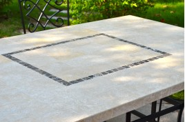 Table jardin pierre naturelle 160-200 mosaïque marbre MONTE CARLO