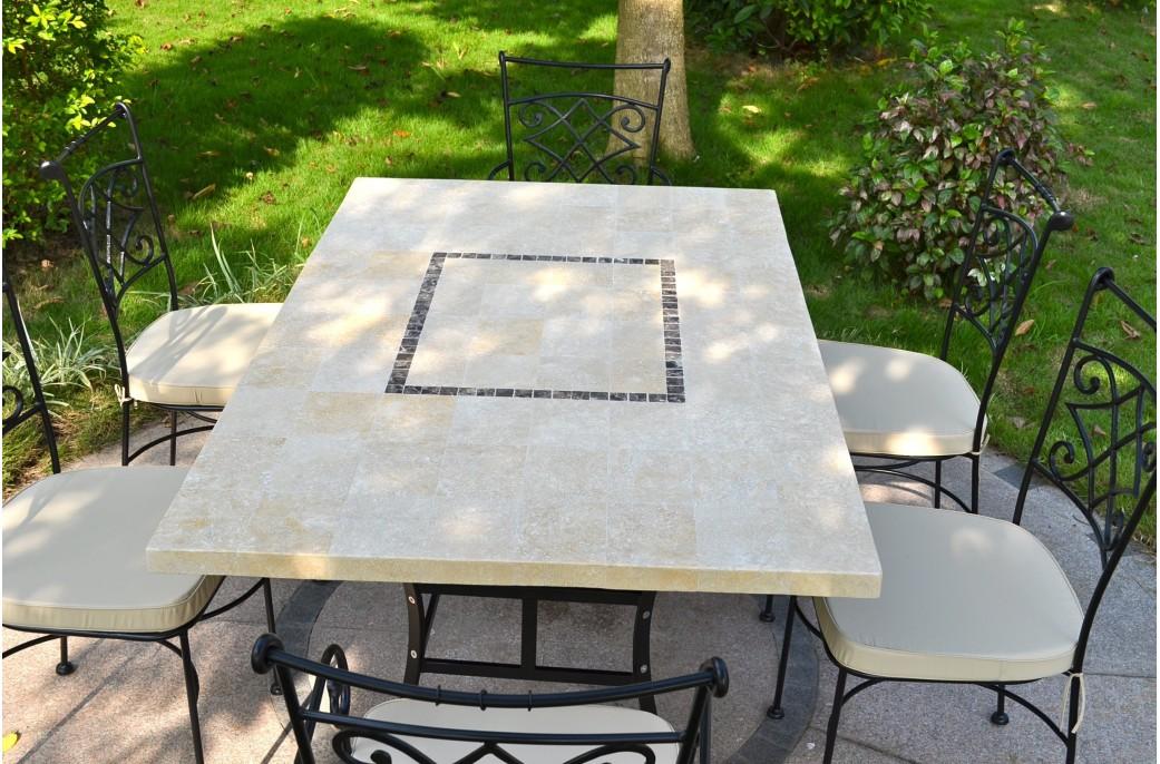 monte carlo table de jardin 160x100 en mosa que de marbre pierre naturelle. Black Bedroom Furniture Sets. Home Design Ideas